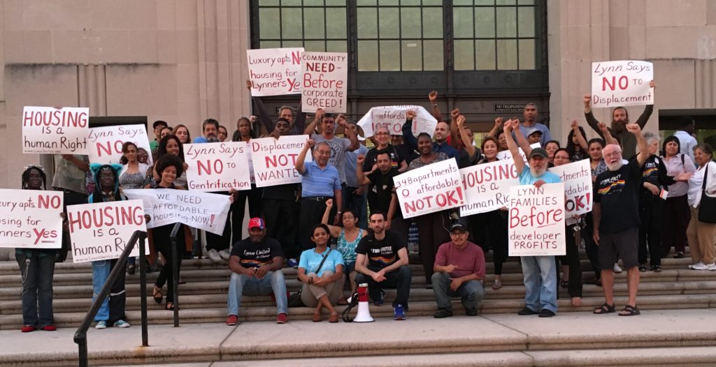 Lynn, MA residents hold a rally September 22, 2016 to demand Development without Displacement and protest the development of 348 Luxury Apartments without any affordable ones on the waterfront in downtown Lynn.