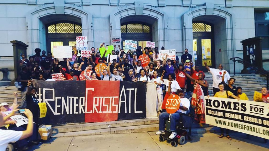 Atlanta Residents marched on the Fulton Country Courthouse to deliver notice to county officials to immediately change eviction practices that have seen evictions in the country rise to over 500 per week.